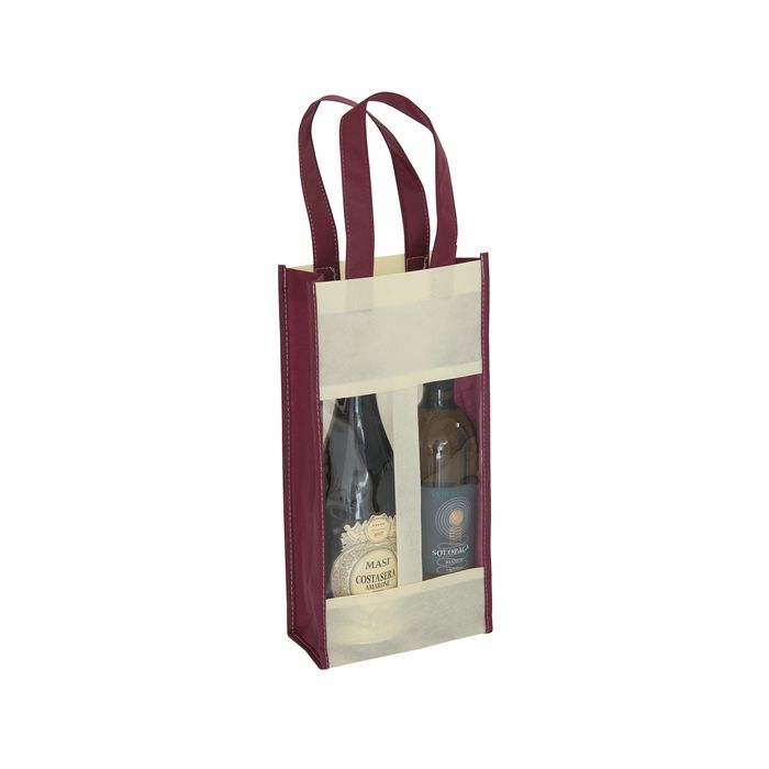 Shopper porta 2 bottiglie con finestra PG121
